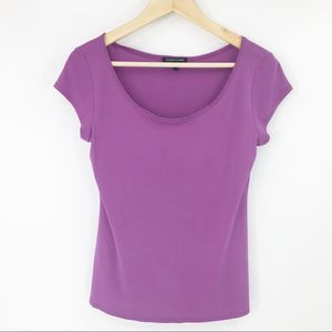 Eileen Fisher 100% Silk Purple Short Sleeve Top XS